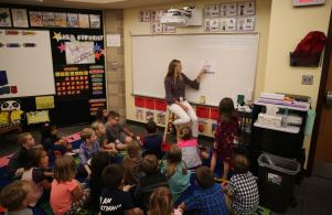 Miss Kammer teaching her kindergarten class (8/24/17)