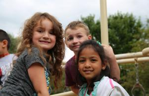 Students excited at recess